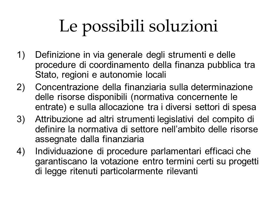 Le possibili soluzioni 1)Definizione in via generale degli strumenti e delle procedure di coordinamento della finanza pubblica tra Stato, regioni e au