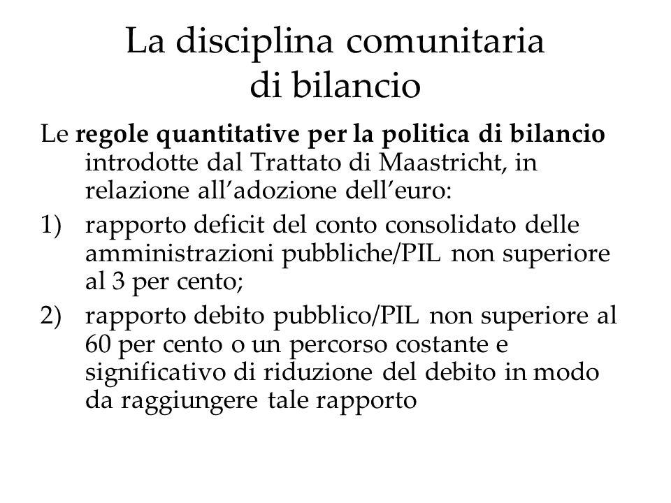 La disciplina comunitaria di bilancio Le regole quantitative per la politica di bilancio introdotte dal Trattato di Maastricht, in relazione alladozio