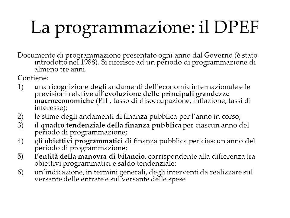 La programmazione: il DPEF Documento di programmazione presentato ogni anno dal Governo (è stato introdotto nel 1988). Si riferisce ad un periodo di p