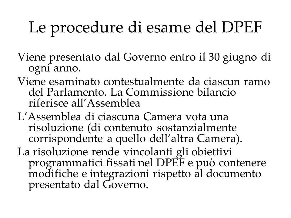 Le procedure di esame del DPEF Viene presentato dal Governo entro il 30 giugno di ogni anno. Viene esaminato contestualmente da ciascun ramo del Parla