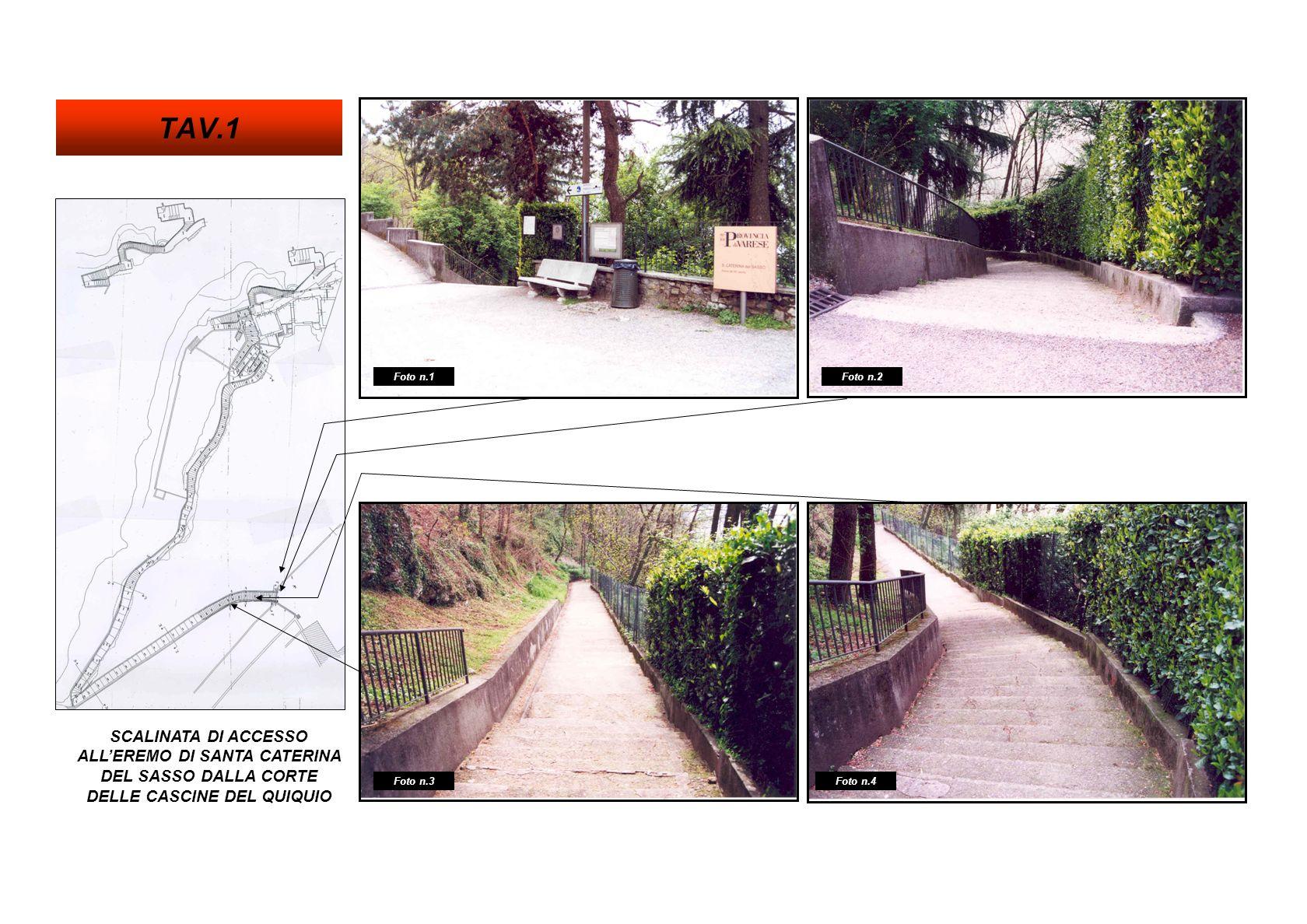 SCALINATA DI ACCESSO ALLEREMO DI SANTA CATERINA DEL SASSO DALLA CORTE DELLE CASCINE DEL QUIQUIO Foto n.8 Foto n.6 Foto n.7 Foto n.5 TAV.2