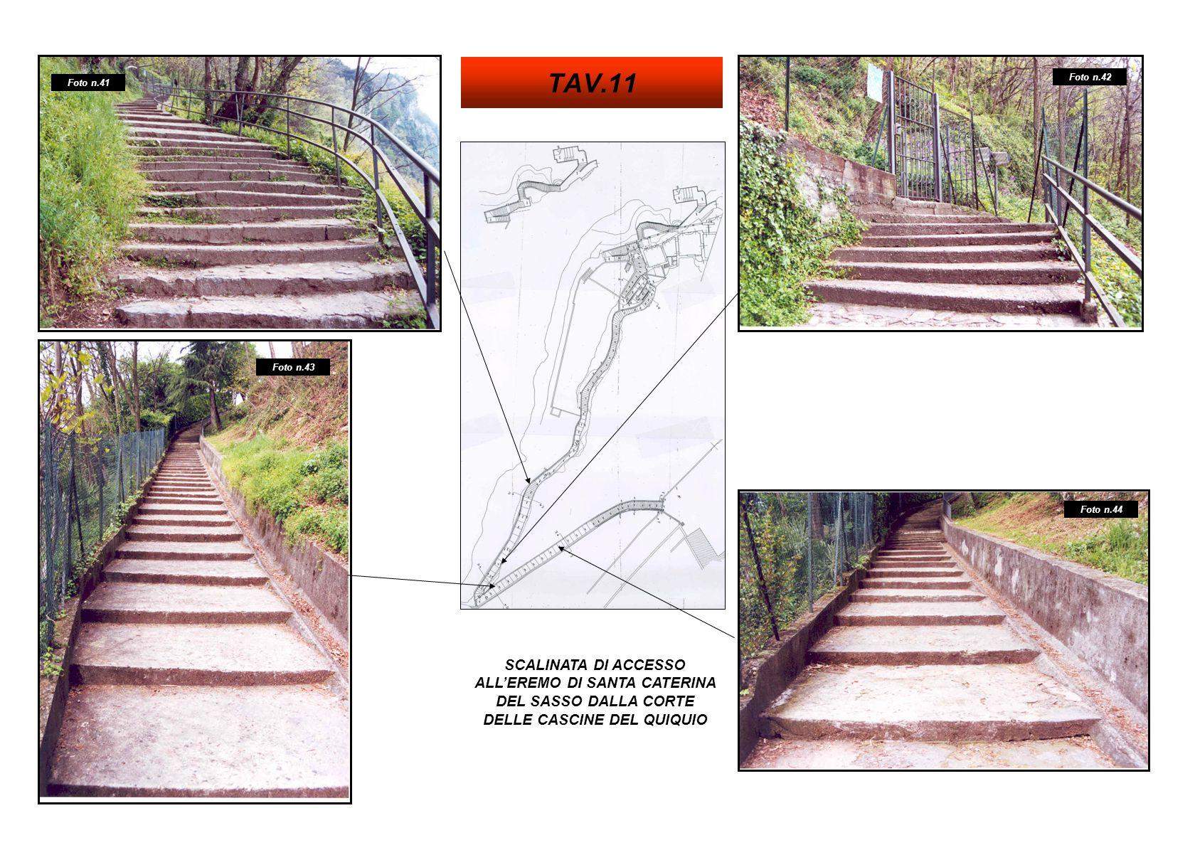 SCALINATA DI ACCESSO ALLEREMO DI SANTA CATERINA DEL SASSO DALLA CORTE DELLE CASCINE DEL QUIQUIO Foto n.41 Foto n.44 Foto n.43 Foto n.42 TAV.11