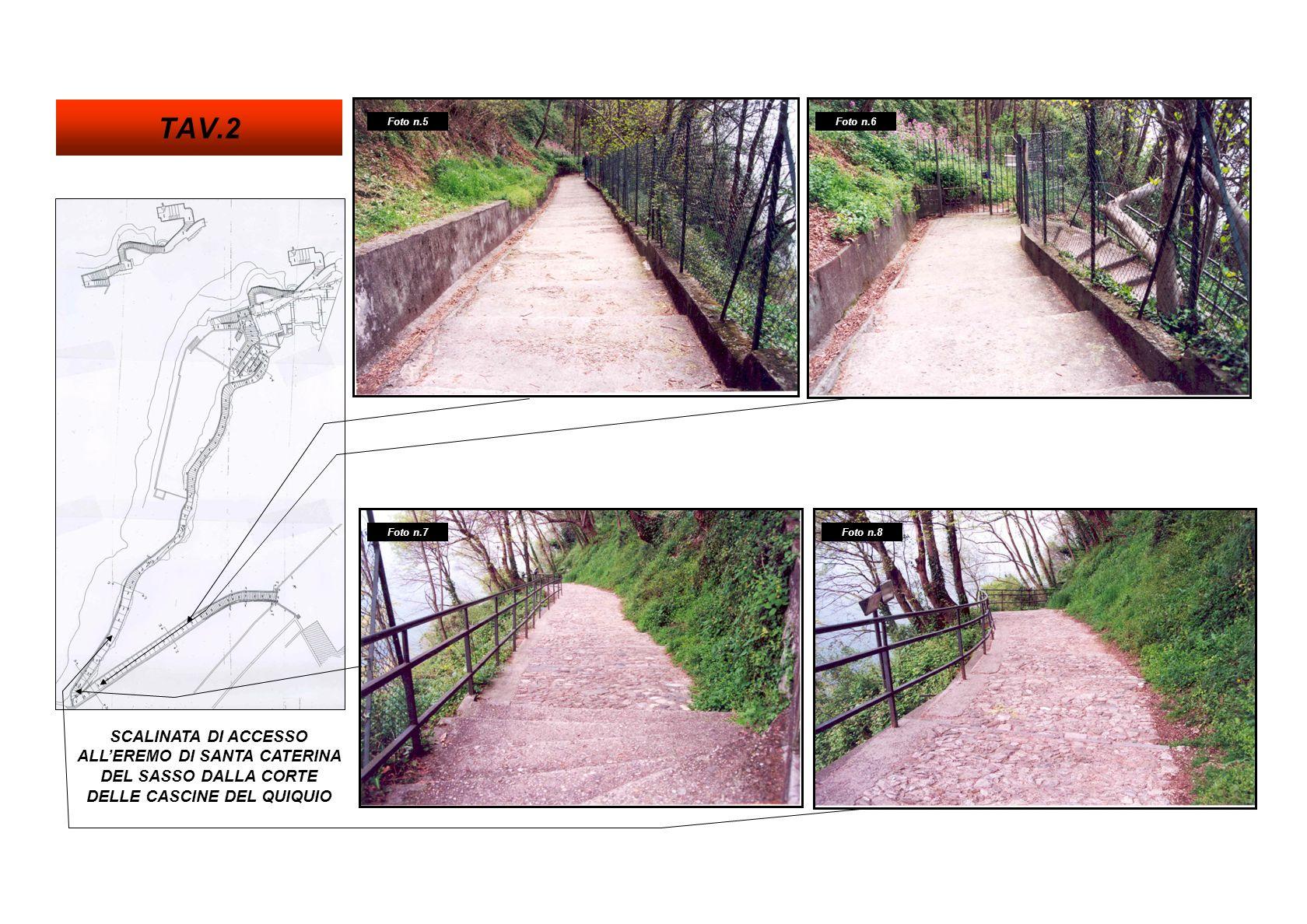 SCALINATA DI ACCESSO ALLEREMO DI SANTA CATERINA DEL SASSO DALLA CORTE DELLE CASCINE DEL QUIQUIO Foto n.12 Foto n.10 Foto n.11 Foto n.9 TAV.3