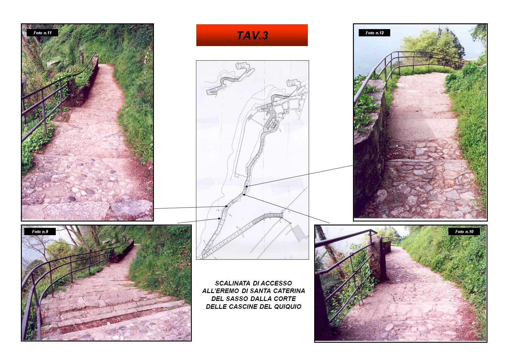 SCALINATA DI ACCESSO ALLEREMO DI SANTA CATERINA DEL SASSO DALLA CORTE DELLE CASCINE DEL QUIQUIO Foto n.14 Foto n.16Foto n.13 Foto n.15 TAV.4