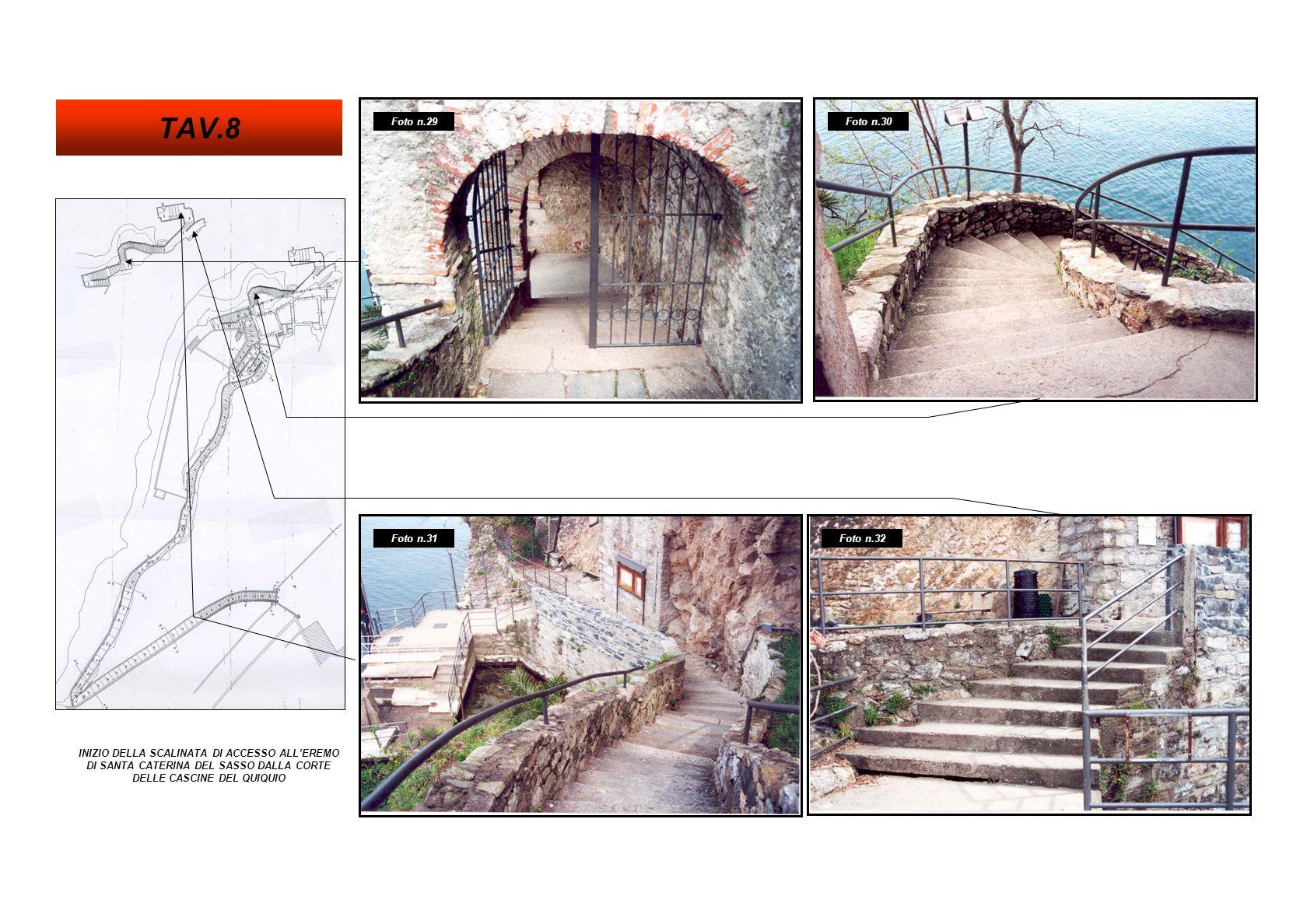 SCALINATA DI ACCESSO ALLEREMO DI SANTA CATERINA DEL SASSO DALLA CORTE DELLE CASCINE DEL QUIQUIO Foto n.36 Foto n.34 Foto n.33 TAV.9 Foto n.35