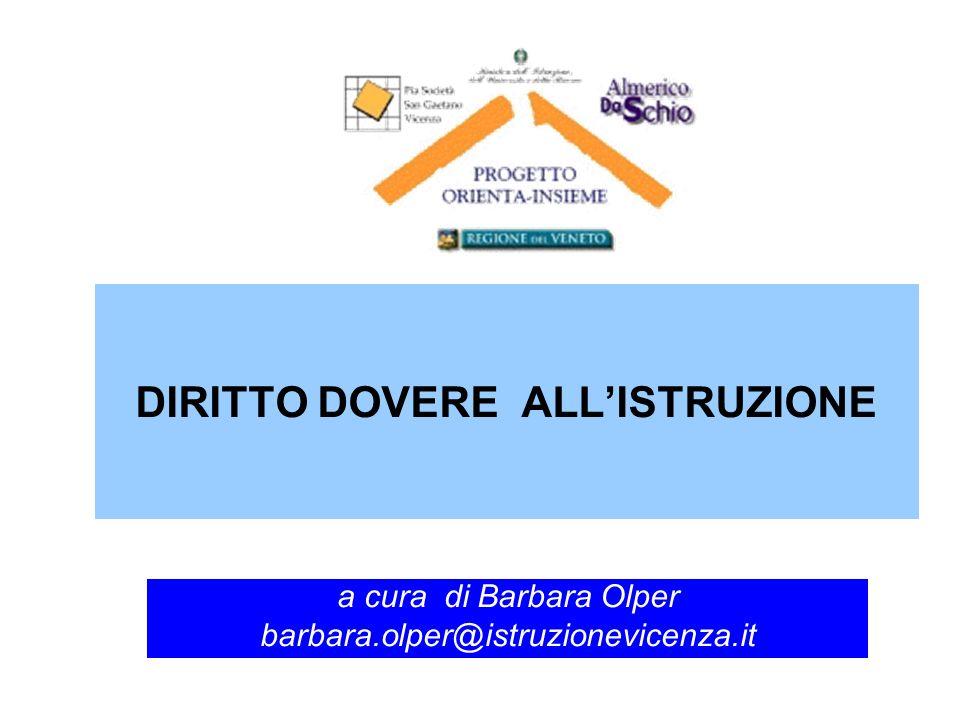 DIRITTO DOVERE ALLISTRUZIONE a cura di Barbara Olper barbara.olper@istruzionevicenza.it