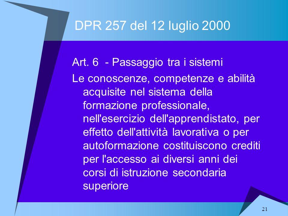 21 DPR 257 del 12 luglio 2000 Art. 6 - Passaggio tra i sistemi Le conoscenze, competenze e abilità acquisite nel sistema della formazione professional