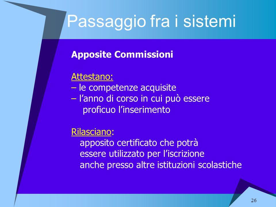 26 Passaggio fra i sistemi Apposite Commissioni Attestano: – le competenze acquisite – lanno di corso in cui può essere proficuo linserimento Rilascia