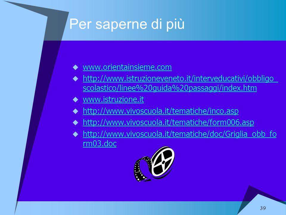 39 Per saperne di più www.orientainsieme.com http://www.istruzioneveneto.it/interveducativi/obbligo_ scolastico/linee%20guida%20passaggi/index.htm htt