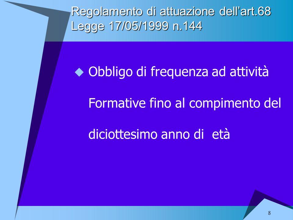 8 Regolamento di attuazione dellart.68 Legge 17/05/1999 n.144 Obbligo di frequenza ad attività Formative fino al compimento del diciottesimo anno di e