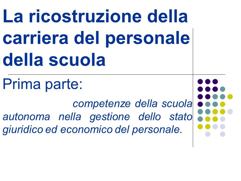 La ricostruzione della carriera del personale della scuola Prima parte: competenze della scuola autonoma nella gestione dello stato giuridico ed econo