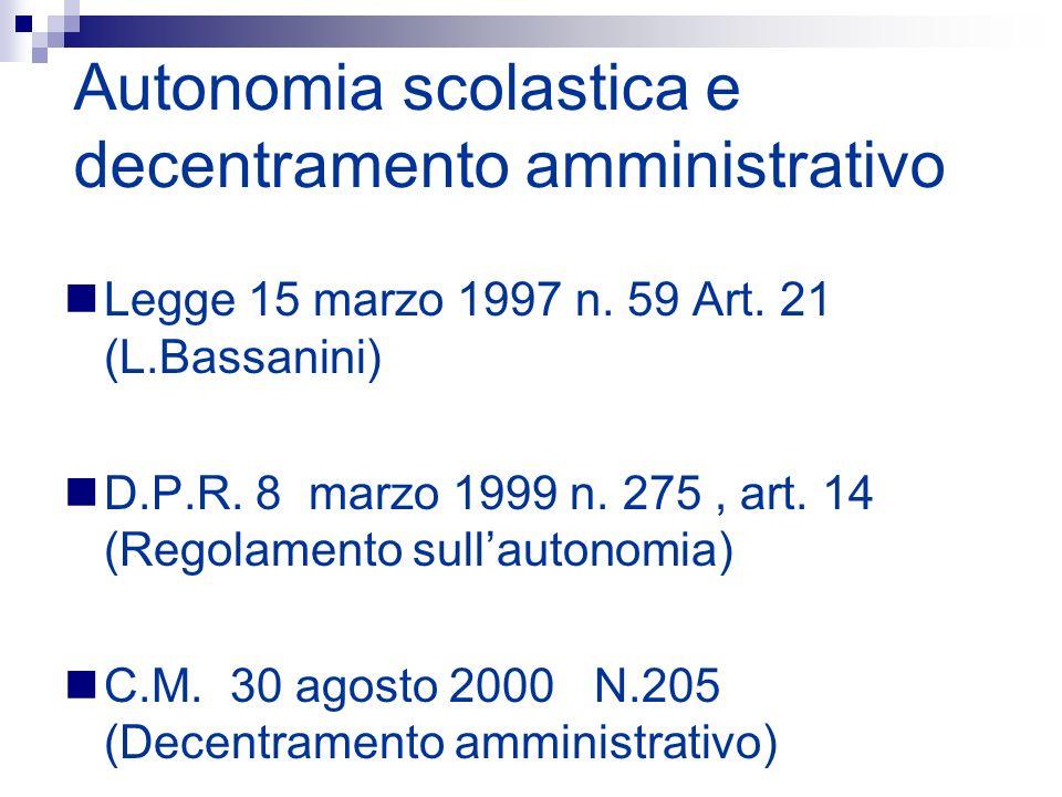 Autonomia scolastica e decentramento amministrativo Legge 15 marzo 1997 n. 59 Art. 21 (L.Bassanini) D.P.R. 8 marzo 1999 n. 275, art. 14 (Regolamento s