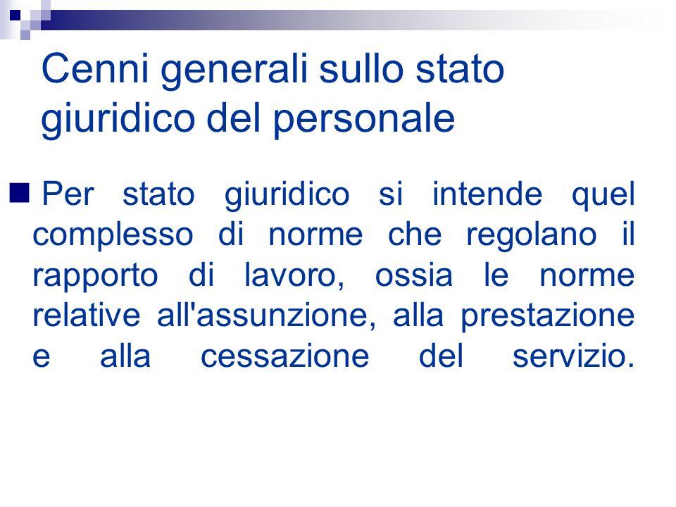 Cenni generali sullo stato giuridico del personale Per stato giuridico si intende quel complesso di norme che regolano il rapporto di lavoro, ossia le