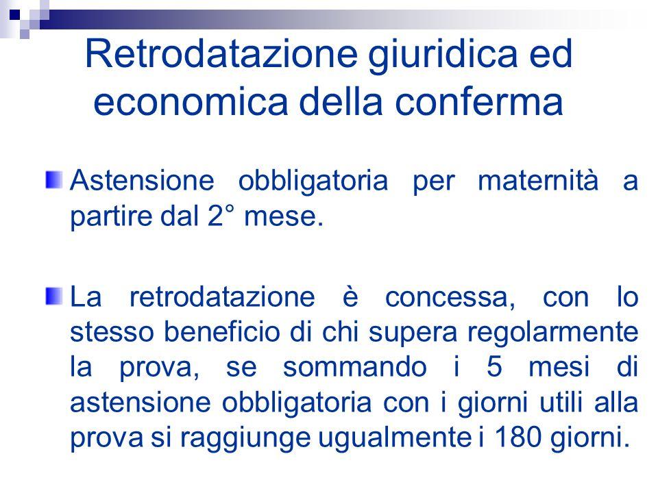 Retrodatazione giuridica ed economica della conferma Astensione obbligatoria per maternità a partire dal 2° mese. La retrodatazione è concessa, con lo