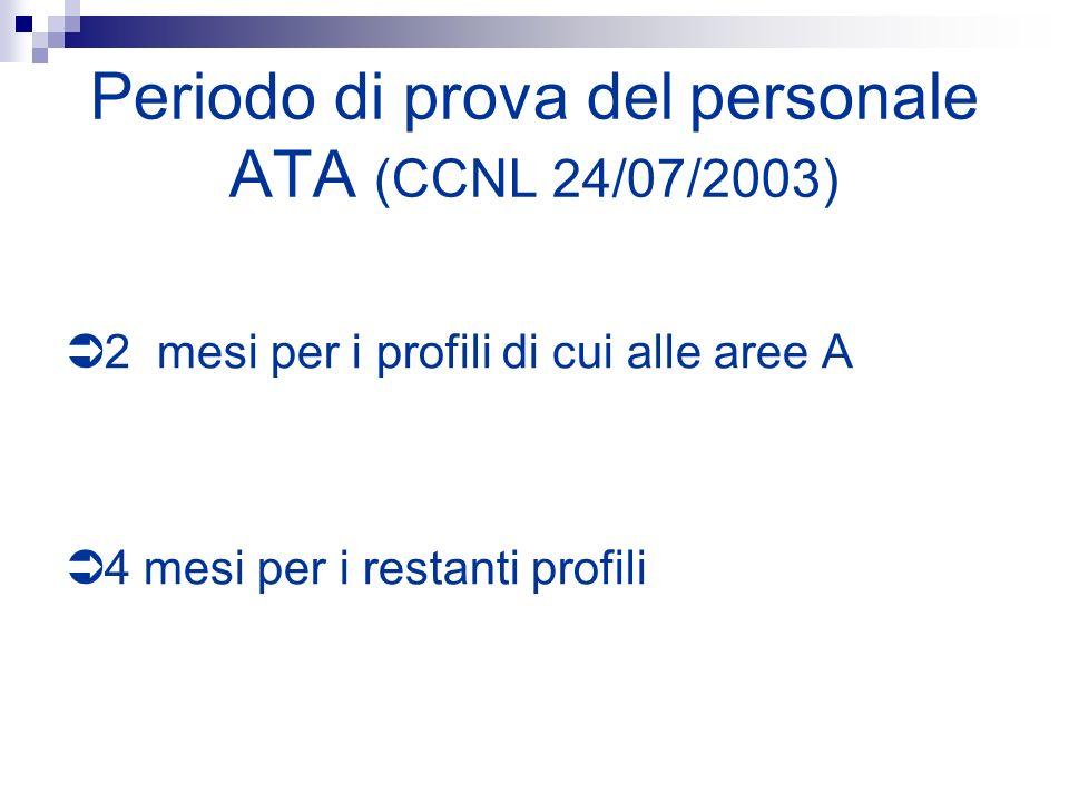 Periodo di prova del personale ATA (CCNL 24/07/2003) 2 mesi per i profili di cui alle aree A 4 mesi per i restanti profili