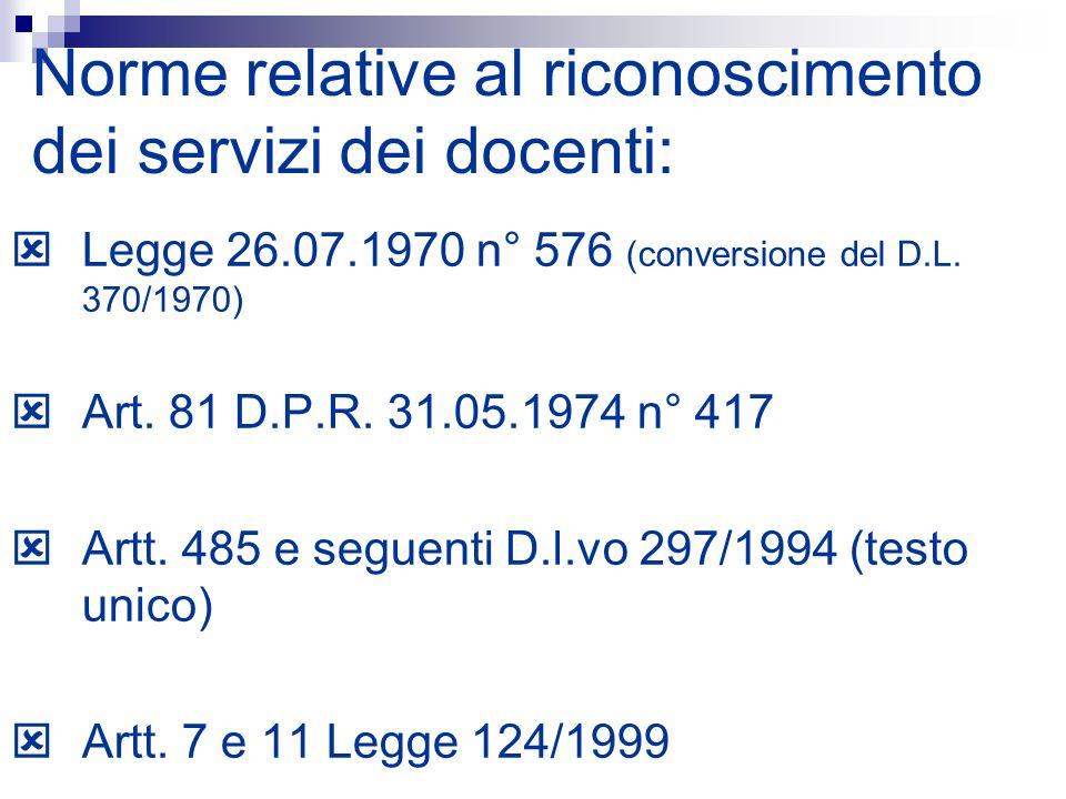 Norme relative al riconoscimento dei servizi dei docenti: Legge 26.07.1970 n° 576 (conversione del D.L. 370/1970) Art. 81 D.P.R. 31.05.1974 n° 417 Art