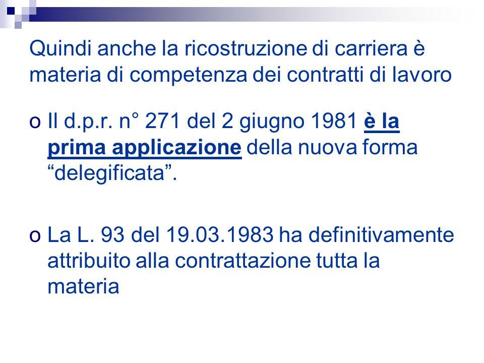 Quindi anche la ricostruzione di carriera è materia di competenza dei contratti di lavoro oIl d.p.r. n° 271 del 2 giugno 1981 è la prima applicazione