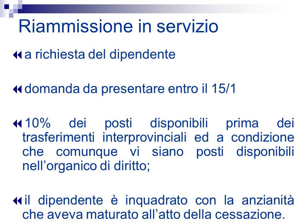 Riammissione in servizio a richiesta del dipendente domanda da presentare entro il 15/1 10% dei posti disponibili prima dei trasferimenti interprovinc