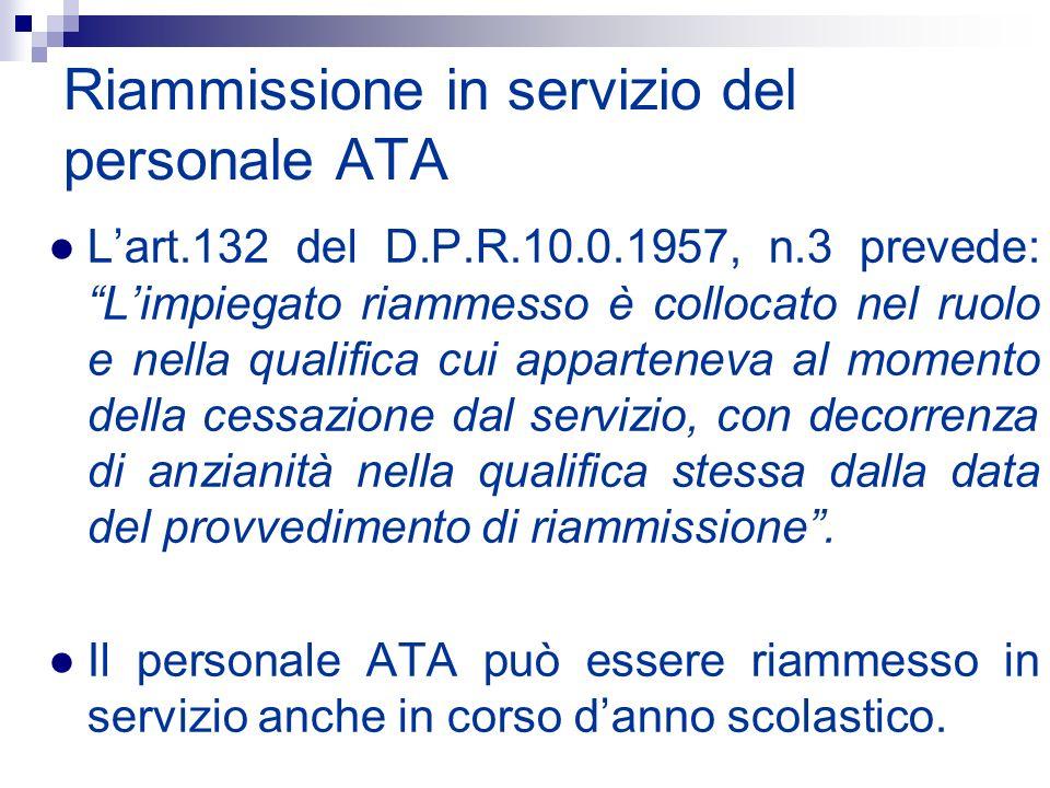 Riammissione in servizio del personale ATA Lart.132 del D.P.R.10.0.1957, n.3 prevede: Limpiegato riammesso è collocato nel ruolo e nella qualifica cui