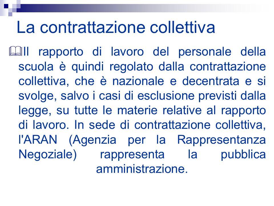 La contrattazione collettiva Il rapporto di lavoro del personale della scuola è quindi regolato dalla contrattazione collettiva, che è nazionale e dec