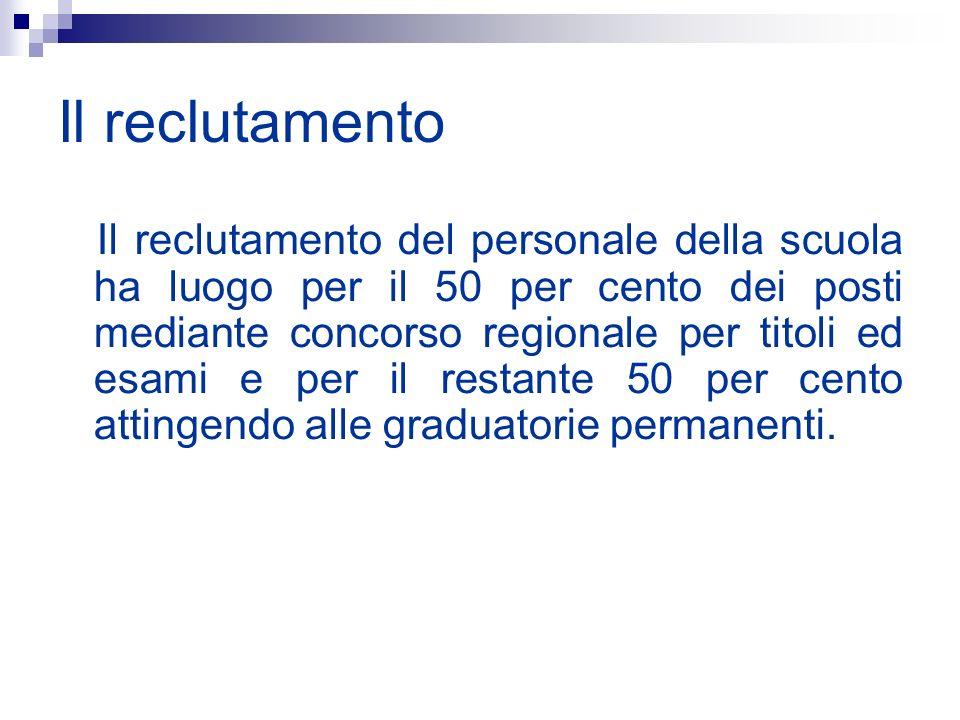 Il reclutamento Il reclutamento del personale della scuola ha luogo per il 50 per cento dei posti mediante concorso regionale per titoli ed esami e pe