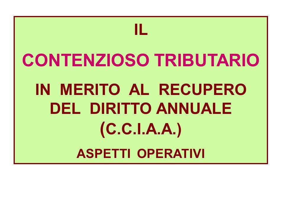 IL CONTENZIOSO TRIBUTARIO IN MERITO AL RECUPERO DEL DIRITTO ANNUALE ( C.C.I.A.A.) ASPETTI OPERATIVI