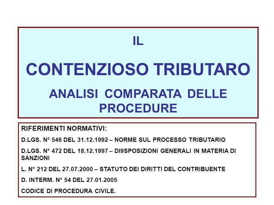 IL CONTENZIOSO TRIBUTARO ANALISI COMPARATA DELLE PROCEDURE RIFERIMENTI NORMATIVI: D.LGS. N° 546 DEL 31.12.1992 – NORME SUL PROCESSO TRIBUTARIO D.LGS.