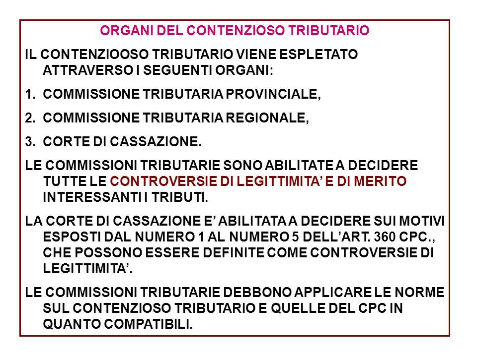 ORGANI DEL CONTENZIOSO TRIBUTARIO IL CONTENZIOOSO TRIBUTARIO VIENE ESPLETATO ATTRAVERSO I SEGUENTI ORGANI: 1.COMMISSIONE TRIBUTARIA PROVINCIALE, 2.COM