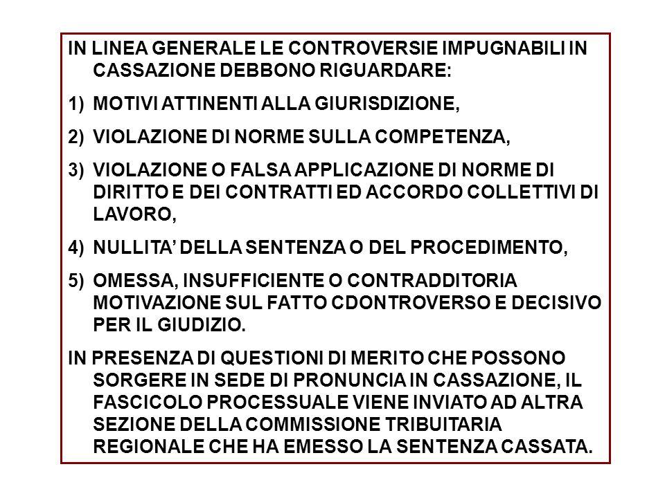 IN LINEA GENERALE LE CONTROVERSIE IMPUGNABILI IN CASSAZIONE DEBBONO RIGUARDARE: 1)MOTIVI ATTINENTI ALLA GIURISDIZIONE, 2)VIOLAZIONE DI NORME SULLA COMPETENZA, 3)VIOLAZIONE O FALSA APPLICAZIONE DI NORME DI DIRITTO E DEI CONTRATTI ED ACCORDO COLLETTIVI DI LAVORO, 4)NULLITA DELLA SENTENZA O DEL PROCEDIMENTO, 5)OMESSA, INSUFFICIENTE O CONTRADDITORIA MOTIVAZIONE SUL FATTO CDONTROVERSO E DECISIVO PER IL GIUDIZIO.