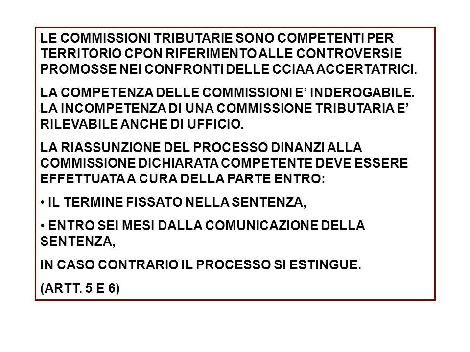 LE COMMISSIONI TRIBUTARIE SONO COMPETENTI PER TERRITORIO CPON RIFERIMENTO ALLE CONTROVERSIE PROMOSSE NEI CONFRONTI DELLE CCIAA ACCERTATRICI. LA COMPET