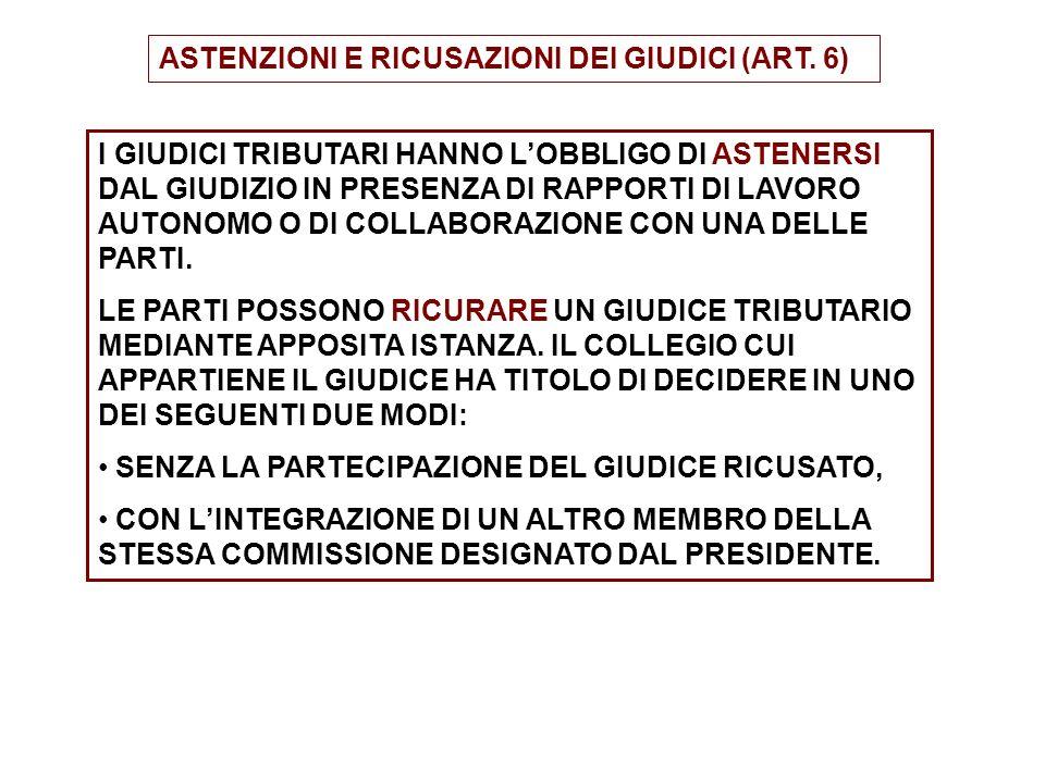 ASTENZIONI E RICUSAZIONI DEI GIUDICI (ART. 6) I GIUDICI TRIBUTARI HANNO LOBBLIGO DI ASTENERSI DAL GIUDIZIO IN PRESENZA DI RAPPORTI DI LAVORO AUTONOMO