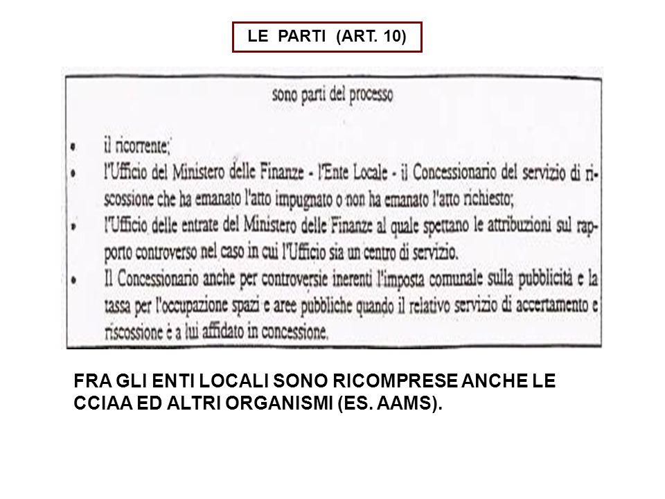 LE PARTI (ART. 10) FRA GLI ENTI LOCALI SONO RICOMPRESE ANCHE LE CCIAA ED ALTRI ORGANISMI (ES. AAMS).