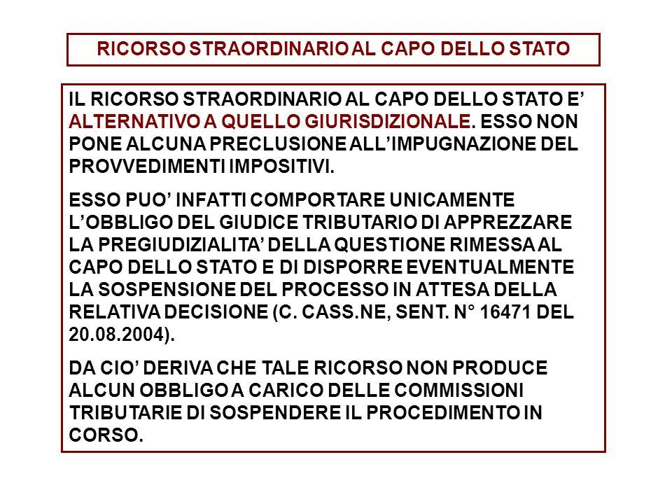RICORSO STRAORDINARIO AL CAPO DELLO STATO IL RICORSO STRAORDINARIO AL CAPO DELLO STATO E ALTERNATIVO A QUELLO GIURISDIZIONALE. ESSO NON PONE ALCUNA PR