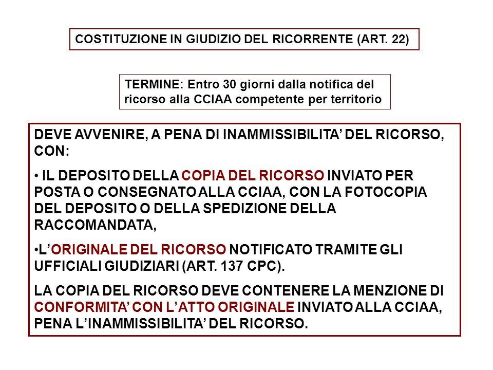 COSTITUZIONE IN GIUDIZIO DEL RICORRENTE (ART. 22) TERMINE: Entro 30 giorni dalla notifica del ricorso alla CCIAA competente per territorio DEVE AVVENI