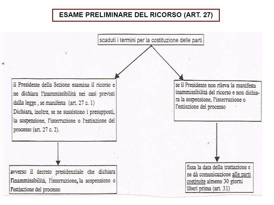 ESAME PRELIMINARE DEL RICORSO (ART. 27)