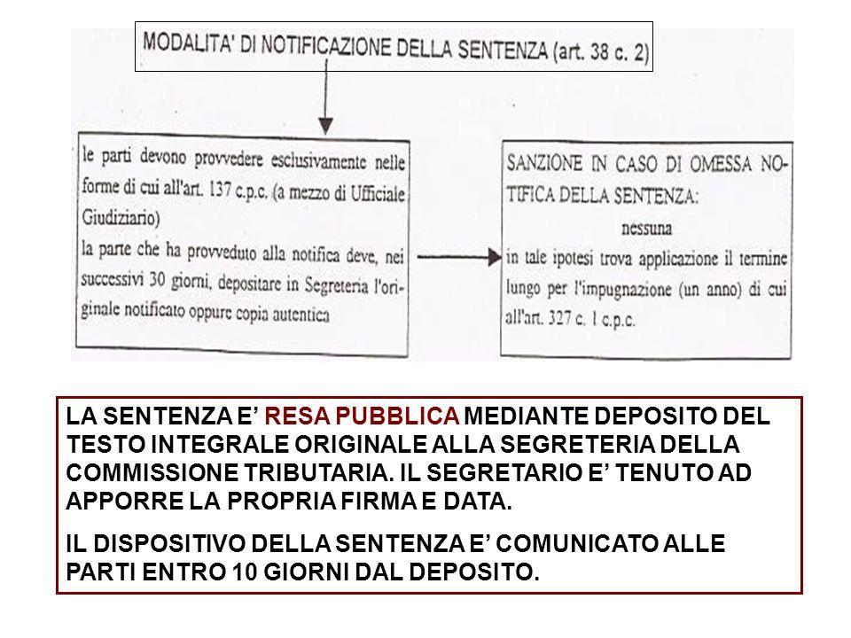 LA SENTENZA E RESA PUBBLICA MEDIANTE DEPOSITO DEL TESTO INTEGRALE ORIGINALE ALLA SEGRETERIA DELLA COMMISSIONE TRIBUTARIA.
