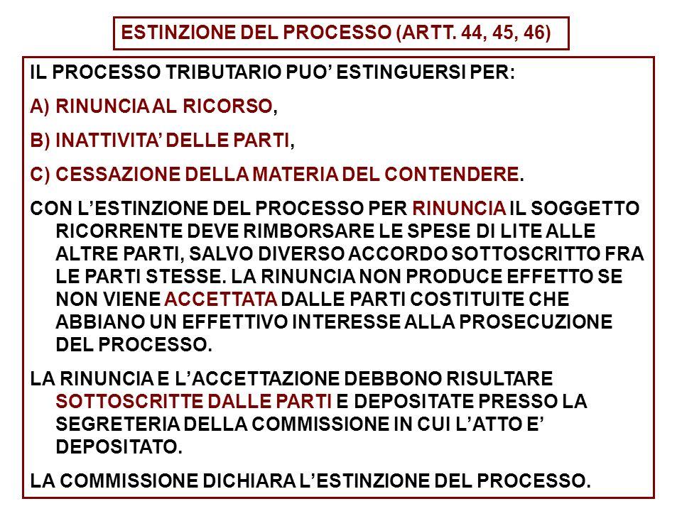 ESTINZIONE DEL PROCESSO (ARTT.