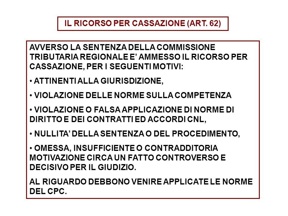 IL RICORSO PER CASSAZIONE (ART. 62) AVVERSO LA SENTENZA DELLA COMMISSIONE TRIBUTARIA REGIONALE E AMMESSO IL RICORSO PER CASSAZIONE, PER I SEGUENTI MOT