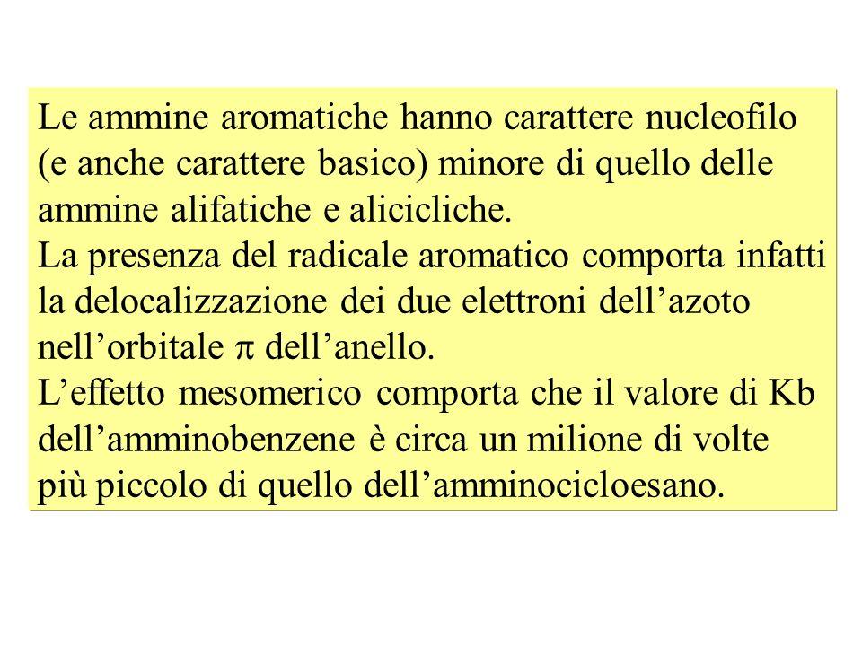 Le ammine aromatiche hanno carattere nucleofilo (e anche carattere basico) minore di quello delle ammine alifatiche e alicicliche. La presenza del rad