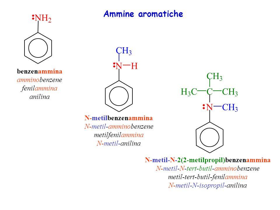 NH 2 benzenammina amminobenzene fenilammina anilina NH CH 3 N-metilbenzenammina N-metil-amminobenzene metilfenilammina N-metil-anilina NCH 3 CCH 3 H 3