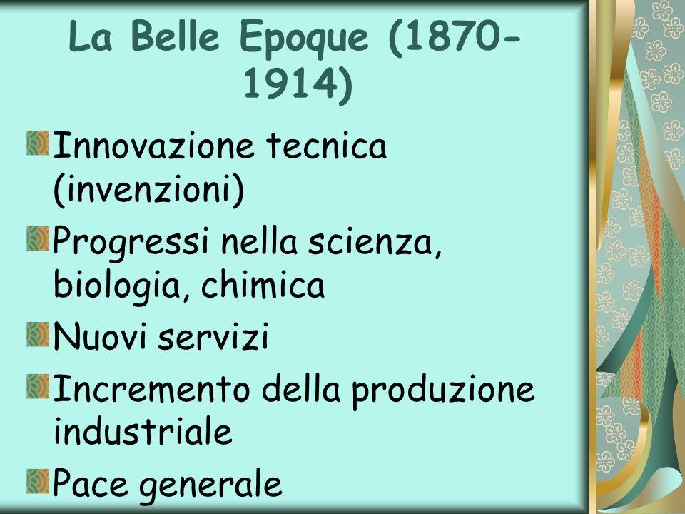 Innovazione tecnica (invenzioni) Progressi nella scienza, biologia, chimica Nuovi servizi Incremento della produzione industriale Pace generale