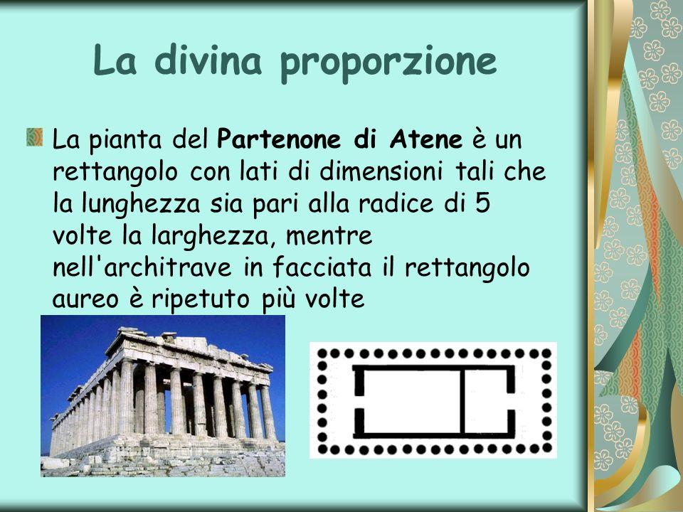 La divina proporzione La pianta del Partenone di Atene è un rettangolo con lati di dimensioni tali che la lunghezza sia pari alla radice di 5 volte la