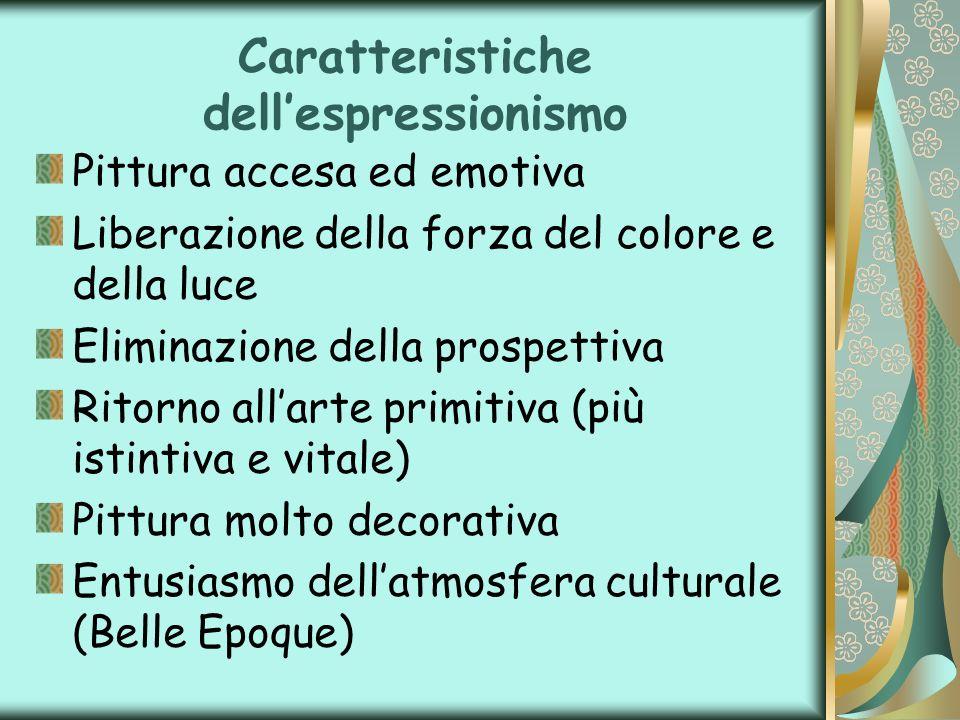 Caratteristiche dellespressionismo Pittura accesa ed emotiva Liberazione della forza del colore e della luce Eliminazione della prospettiva Ritorno al