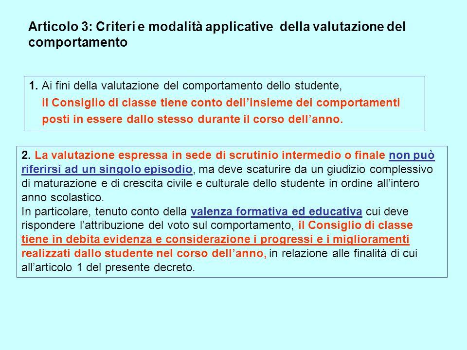 Articolo 3: Criteri e modalità applicative della valutazione del comportamento 1. Ai fini della valutazione del comportamento dello studente, il Consi