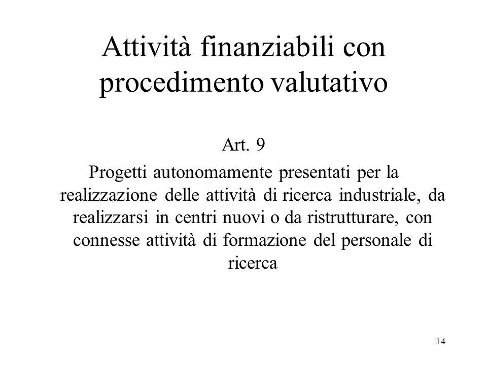 14 Attività finanziabili con procedimento valutativo Art. 9 Progetti autonomamente presentati per la realizzazione delle attività di ricerca industria