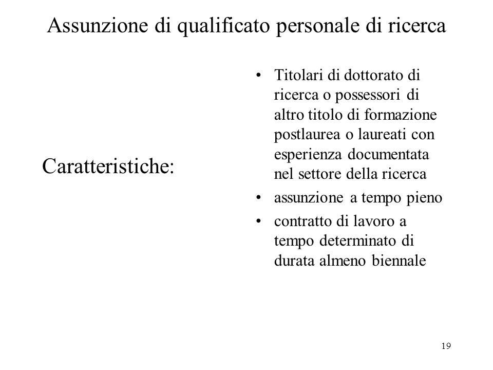 19 Assunzione di qualificato personale di ricerca Caratteristiche: Titolari di dottorato di ricerca o possessori di altro titolo di formazione postlau