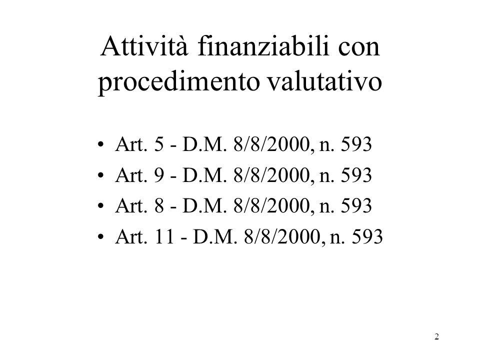 2 Attività finanziabili con procedimento valutativo Art. 5 - D.M. 8/8/2000, n. 593 Art. 9 - D.M. 8/8/2000, n. 593 Art. 8 - D.M. 8/8/2000, n. 593 Art.