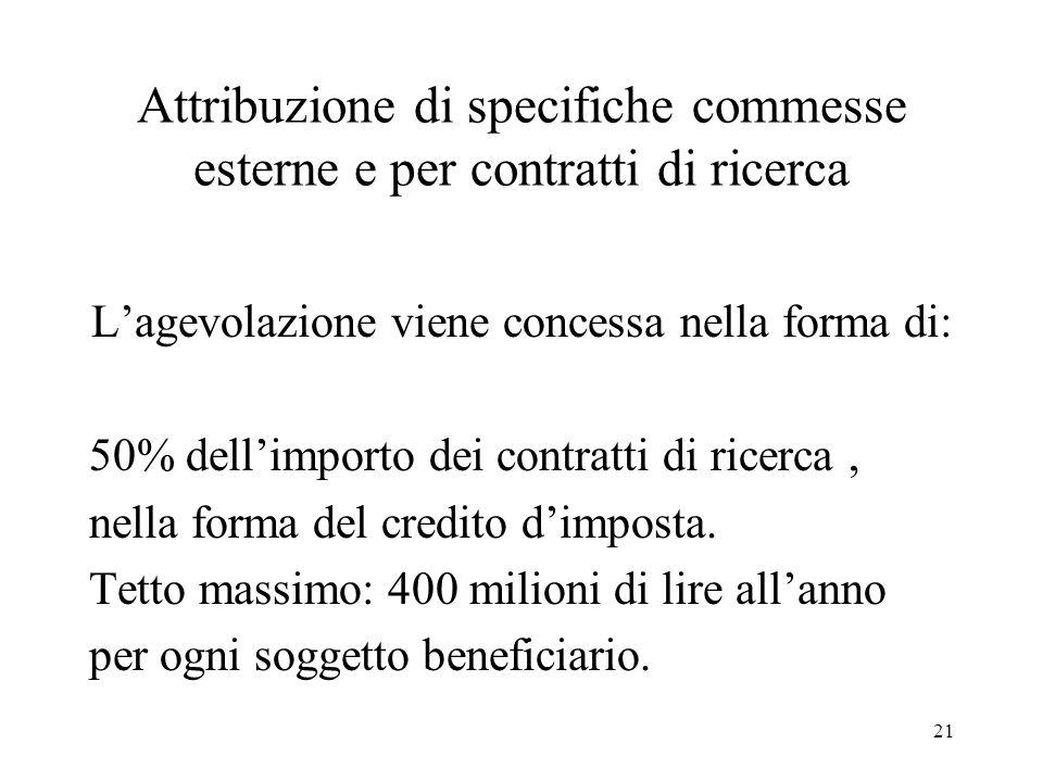 21 Attribuzione di specifiche commesse esterne e per contratti di ricerca Lagevolazione viene concessa nella forma di: 50% dellimporto dei contratti d