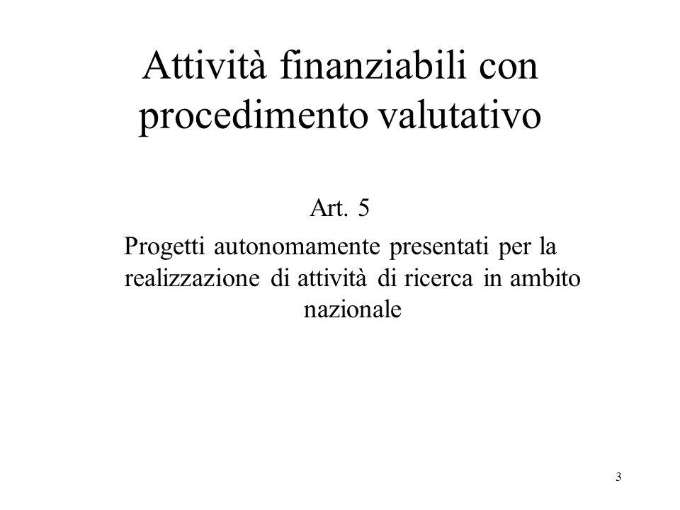 3 Attività finanziabili con procedimento valutativo Art. 5 Progetti autonomamente presentati per la realizzazione di attività di ricerca in ambito naz