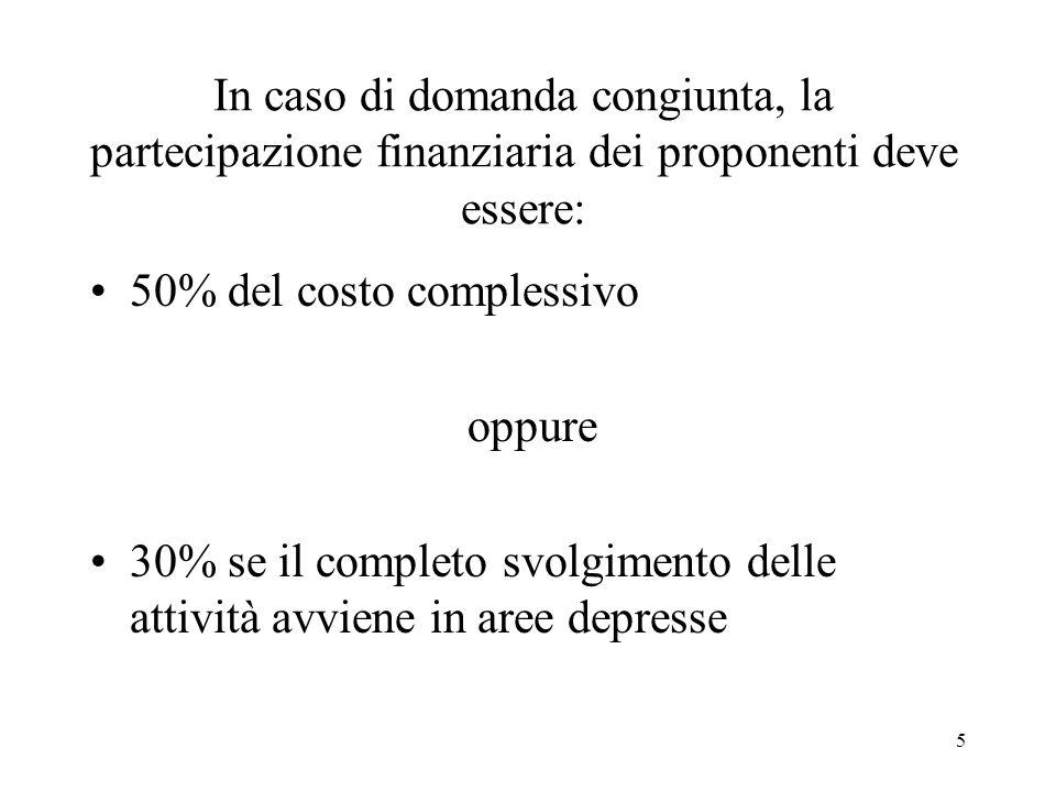 5 In caso di domanda congiunta, la partecipazione finanziaria dei proponenti deve essere: 50% del costo complessivo oppure 30% se il completo svolgime
